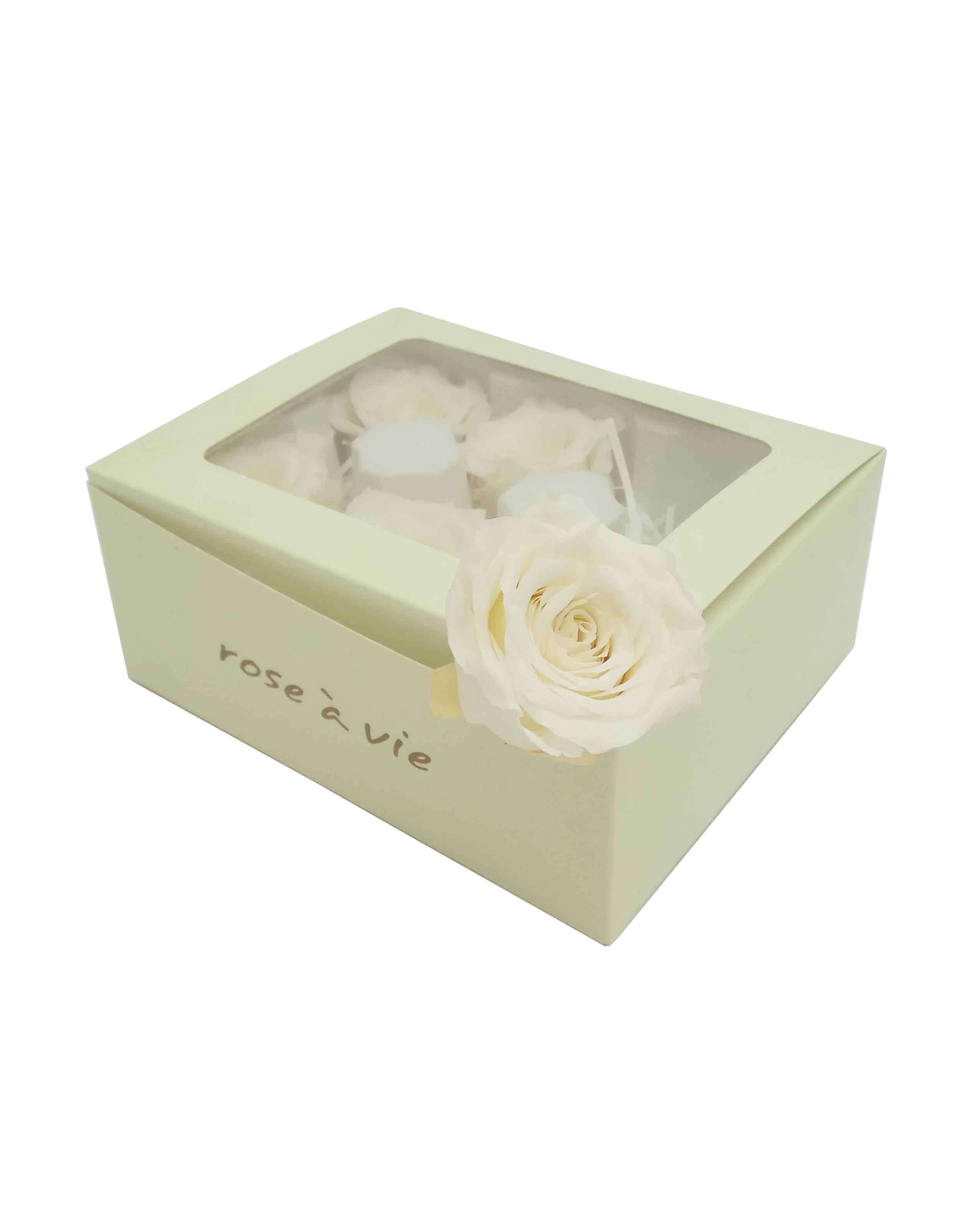 Роза открытая H-5.5см, D-4.5см, цвет белый 6шт/упак
