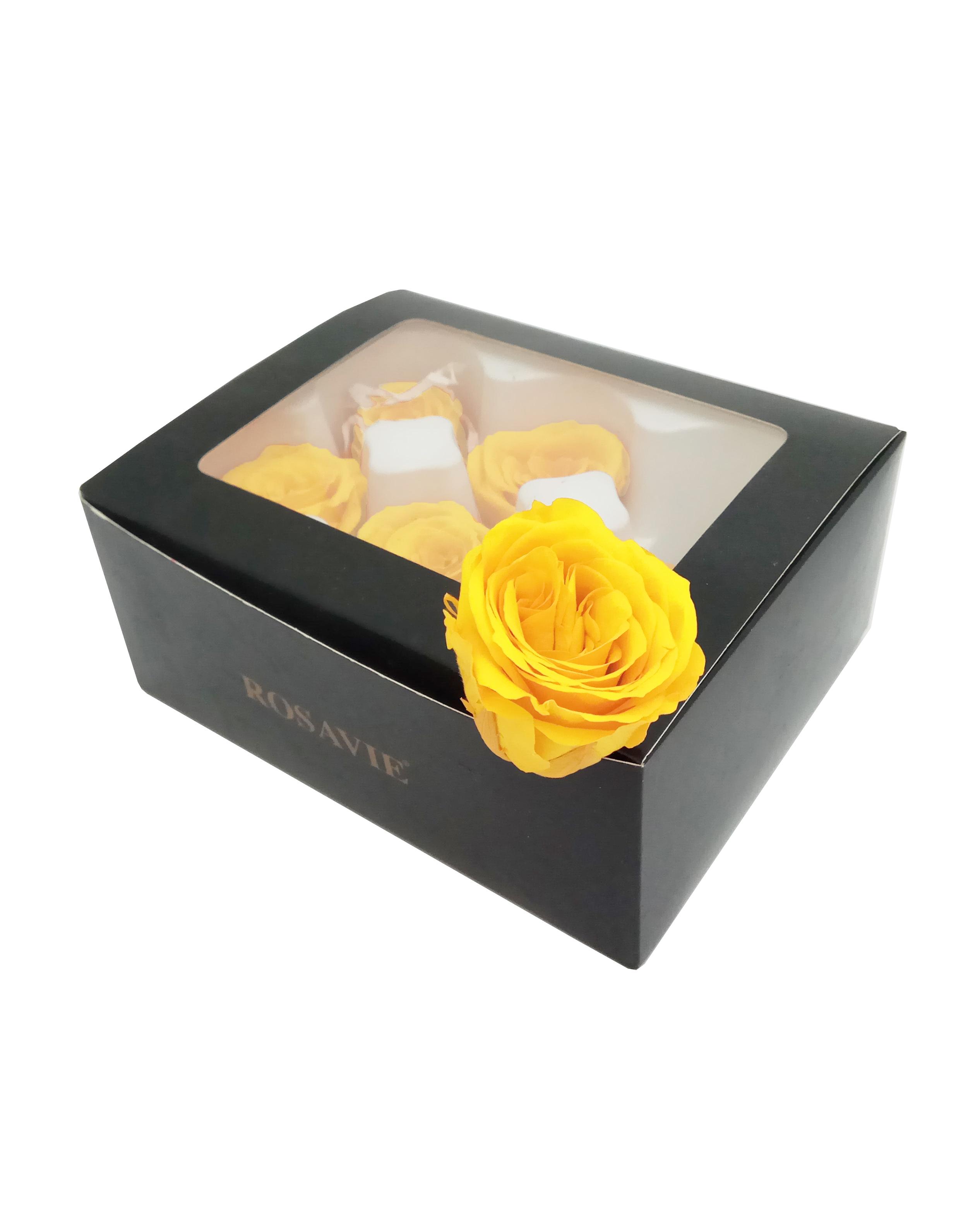 Роза открытая H-5.5см, D-4.5см, цвет желтый 6шт/упак