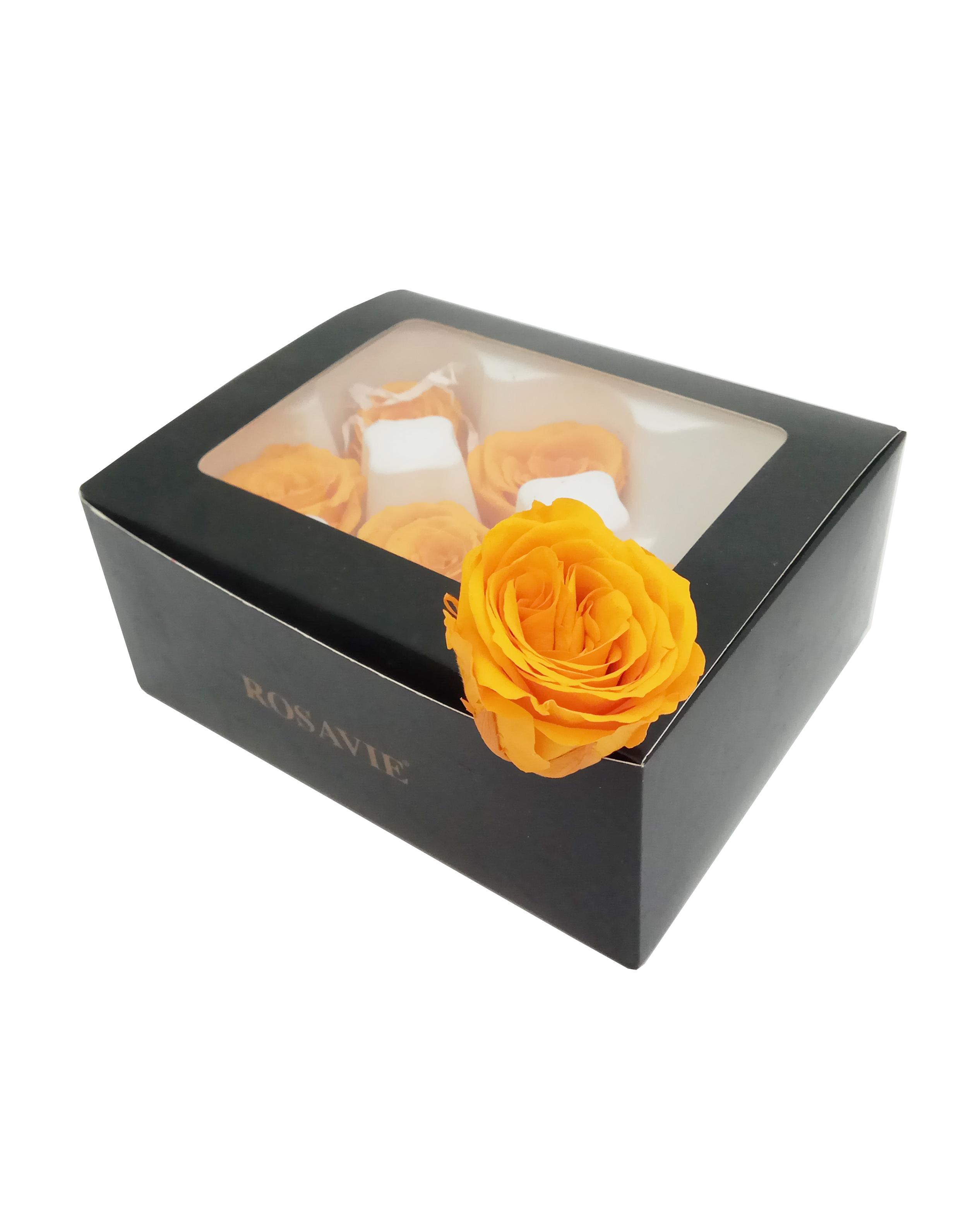 Роза открытая H-5.5см, D-4.5см, цвет оранжевый 6шт/упак